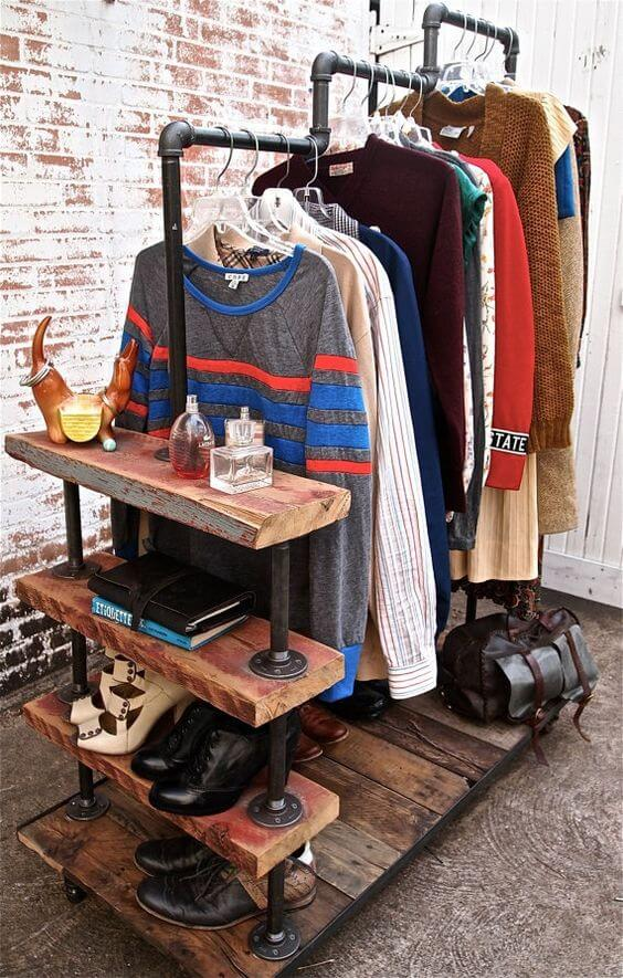 Clothes hanging from salvaged wood and galvanized steel