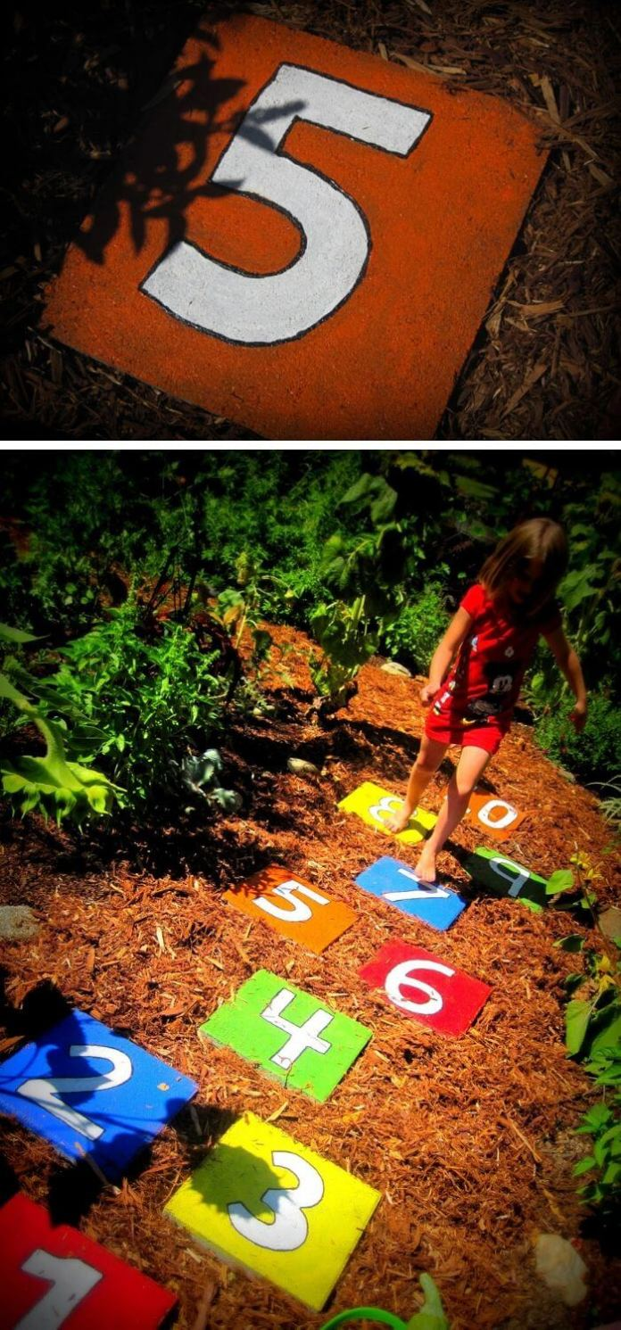 A Backyard with Kids Stepping Stones