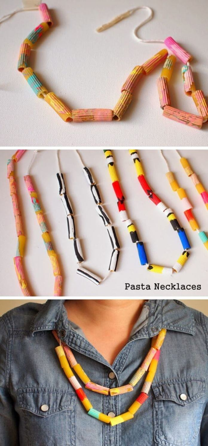 Painted pasta necklace craft