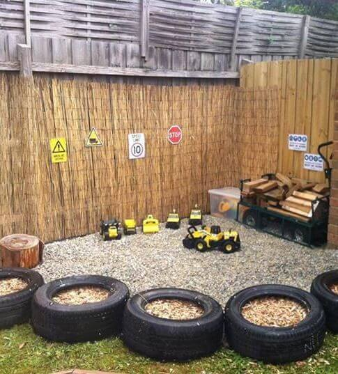 A Backyard with Tyre Play Area