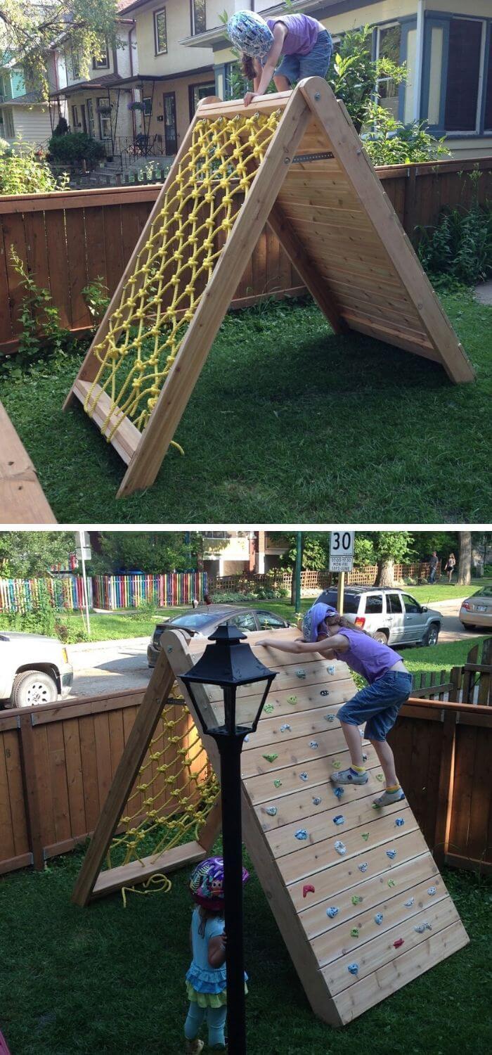 A Backyard with a Climb wall and Net course for Kids