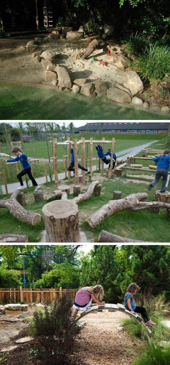 A Backyard with Natural Playscapes
