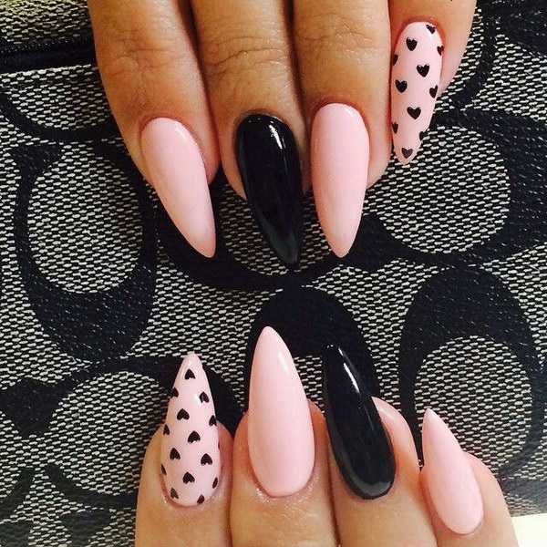 Pink and Black Nail Design with Small Hearts Accent