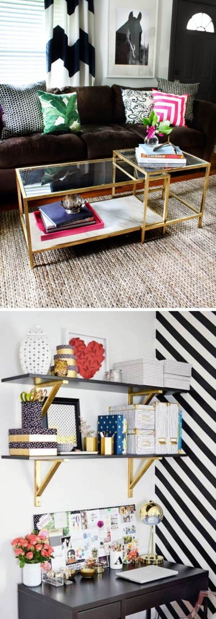 Gold spray paint is to transform everything from coffee tables to the shelf brackets