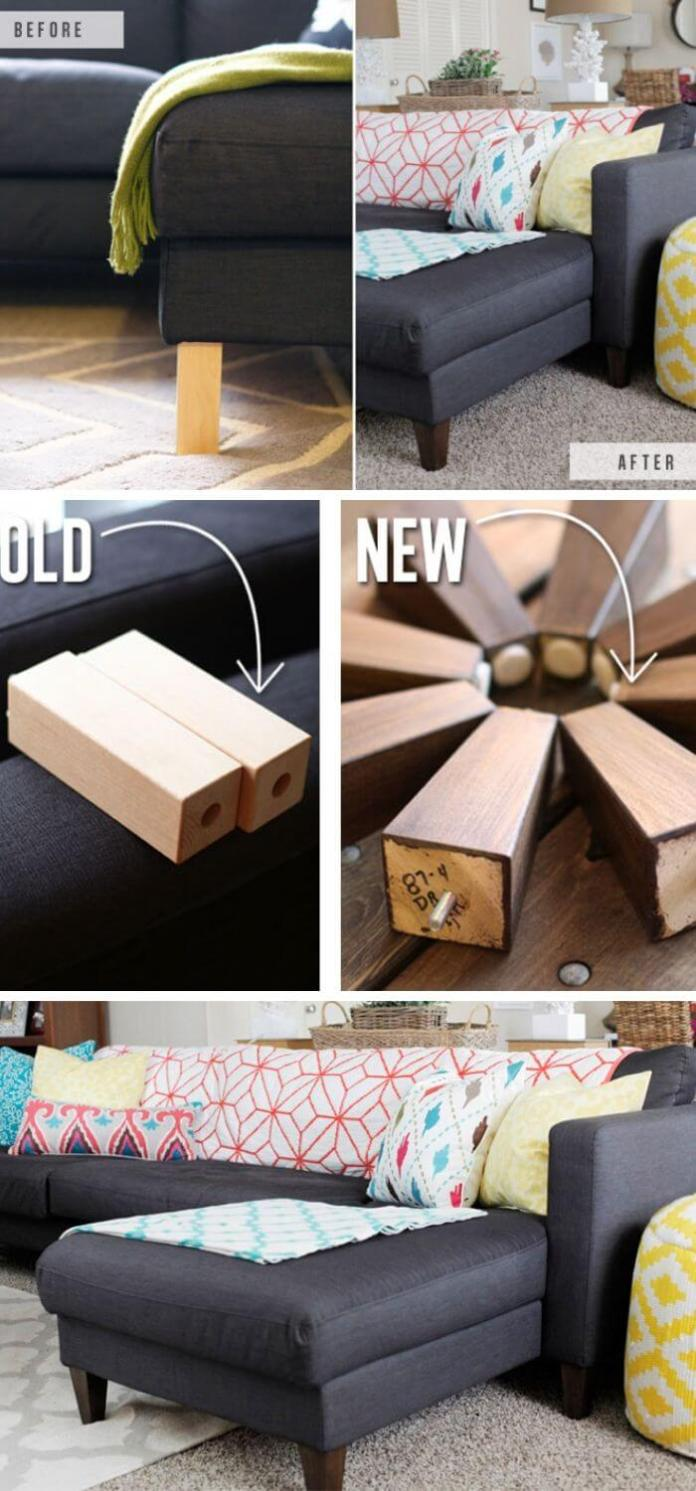 To give new life to Ikea sofa we swap out furniture feet