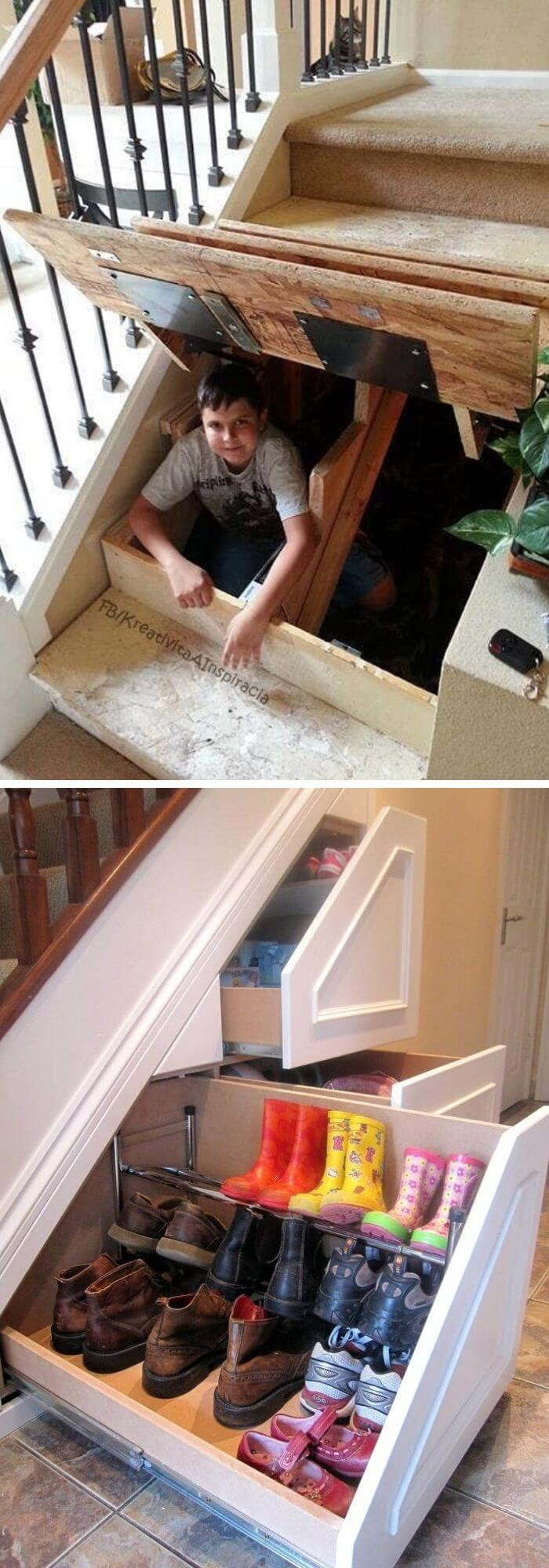 Use the space under the stairs for storage