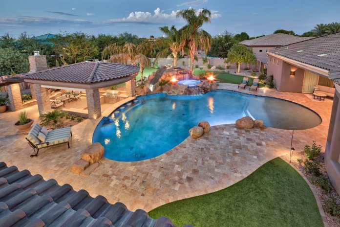 Arizona backyard ideas with pool and pergola