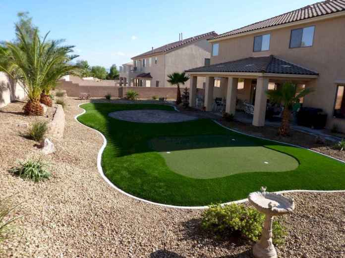 Arizona backyard landscaping ideas with green mat