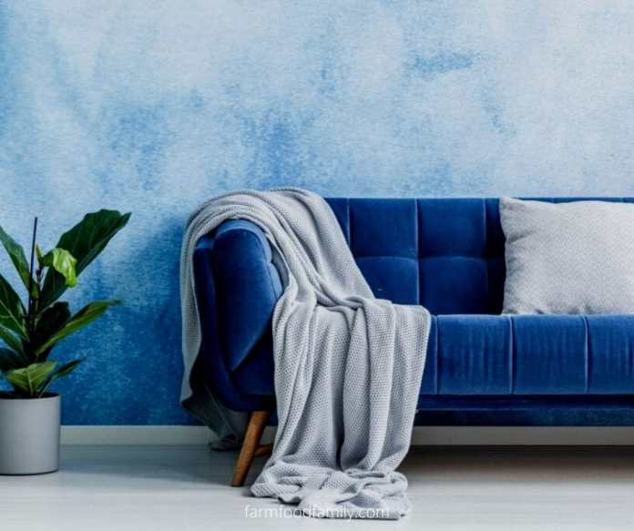 Sofa with fluffy blanket