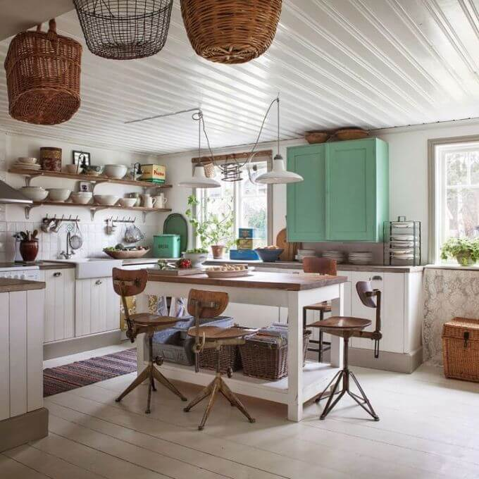 Farmhouse kitchen with woven baskets