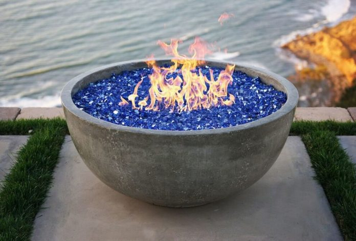 Portable Stone-Topped Fire Bowl