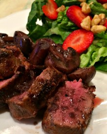 Venison Back Strap with Mushrooms & Red Wine Pan Sauce