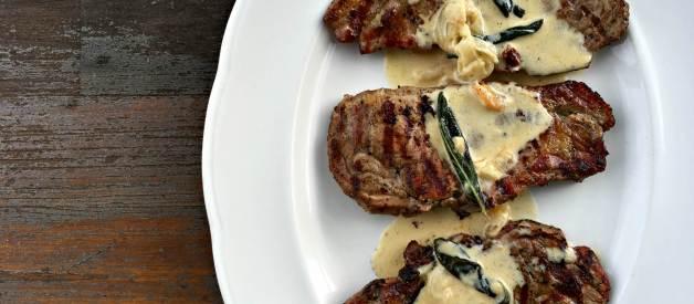 Grilled Pork Chops with Sage Cream Sauce (Premium)