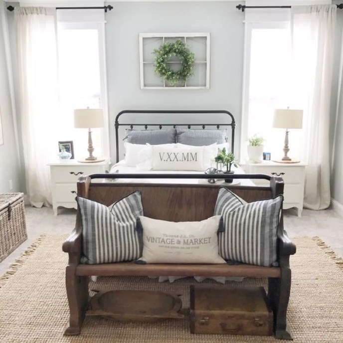 Farmhouse Master Bedroom With Green Wreath