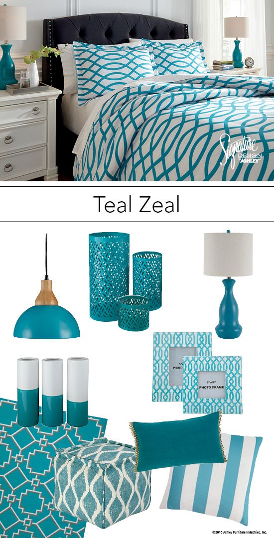teal bedroom accessories set