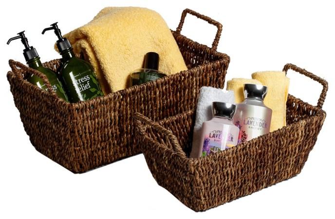 wicker basket for bathroom