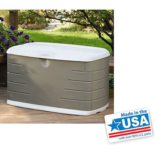 75gallon outdoor storage box lockable comfortable lid for seating