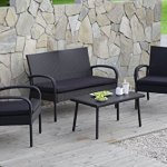 Carlota-Furniture-Patio-Furniture-Set-ideal-for-Outdoor-4-Piece-Modern-Look-Made-of-Black-Wicker-Rattan-with-Black-Detachable-Cushions-Seats-by-Carlota-Furniture-0-0