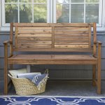 Contemporary-4-ft-Horizontal-Slat-Back-Outdoor-Garden-Bench-Made-Of-Premium-Acacia-Wood-With-Slightly-Curved-Arms-In-Natural-Acacia-Wood-Finish-600-pounds-weight-capacity-Assembly-Required-0