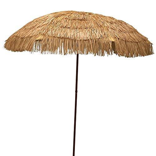 EasyGo   6.5u0027 Thatch Patio Tiki Umbrella U2013 Tropical Palapa Raffia Tiki Hut  Hawaiian Hula