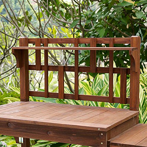 Garden Potting Bench With Storage Shelf Wood Outdoor Large Work Table Plans Gardening Planting