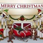 Huge-Santas-Reindeer-Barn-Outdoor-Christmas-Holiday-Garage-Door-Dcor-7×16-0-1