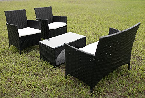 Merax® 4 Piece Outdoor Patio PE Rattan Wicker Garden Lawn Sofa Seat Patio  Rattan Furniture