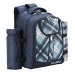 VonShef-4-Person-Blue-Tartan-Picnic-Backpack-With-Cooler-Compartment-Detachable-BottleWine-Holder-Fleece-Blanket-Flatware-and-Plates-0-1