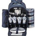 VonShef-4-Person-Blue-Tartan-Picnic-Backpack-With-Cooler-Compartment-Detachable-BottleWine-Holder-Fleece-Blanket-Flatware-and-Plates-0