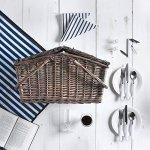 VonShef-Deluxe-2-Person-Folding-Handle-Picnic-Basket-Hamper-with-Cutlery-Plates-Glasses-Tableware-Fleece-Blanket-0-1