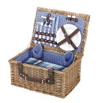 VonShef-Deluxe-2-Person-Traditional-Wicker-Picnic-Basket-Hamper-with-Cutlery-Plates-Glasses-Tableware-Fleece-Blanket-0