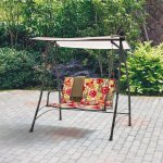 2-Person-Floral-Padded-Swing-Durable-Powder-Coated-Steel-Frame-Supports-2-People-up-to-500-lbs-UV-rated-Polyester-Fabric-Resists-Fading-Has-a-Padded-Seat-for-Comfort-Contemporary-and-Chic-Design-0