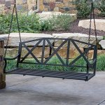 5-Foot-3-Person-Black-Metal-X-Back-Slatted-Porch-Swing-Outdoor-Patio-Garden-Furniture-0