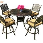 Everhome-Designs-Malibu-5-Piece-Cast-Aluminum-Patio-Bar-Set-with-48-Round-Bar-Table-Premium-Sunbrella-Cushions-0-0