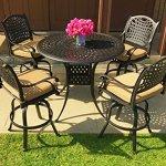 Everhome-Designs-Malibu-5-Piece-Cast-Aluminum-Patio-Bar-Set-with-48-Round-Bar-Table-Premium-Sunbrella-Cushions-0