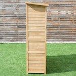 Goplus-Outdoor-Storage-Shed-Tilt-Roof-Wooden-Lockable-Storage-Unit-Fir-Wood-Cabinet-for-Garden-with-Two-Doors-0-2