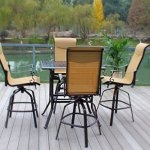Pebble-Lane-Living-5pc-Cast-Aluminum-Swivel-Patio-Bar-Dining-Furniture-Set-Bronze-0