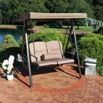 Sunnydaze-Outdoor-Porch-Swing-Loveseat-with-Adjustable-Canopy-and-Steel-Frame-Cushions-and-Pillow-Included-2-Person-Patio-Seater-Beige-0-0