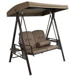 Sunnydaze-Outdoor-Porch-Swing-Loveseat-with-Adjustable-Canopy-and-Steel-Frame-Cushions-and-Pillow-Included-2-Person-Patio-Seater-Beige-0