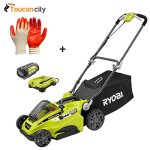 Toucan-City-Ryobi-16-40-Volt-Lithium-Ion-Cordless-Battery-Walk-Behind-Push-Lawn-Mower-with-40-Ah-Battery-and-Charger-Included-RY40140-and-Nitrile-Dip-Gloves5-Pack-0