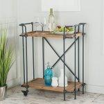 Waldman-Antique-Finish-Fir-Wood-and-Iron-Coffee-Cart-0