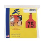 Z-Tags-1-Piece-Pre-Numbered-Laser-Print-Tags-for-Calves-Numbers-from-51-to-75-Red-0