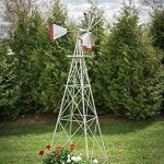 10-Ft-Premium-Aluminum-Decorative-Garden-Windmill-Red-Trim-0