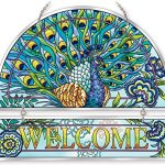 Amia-42021-Hand-Painted-Beveled-Glass-Welcome-Panel-12-by-11-Inch-Peacock-Floral-Design-0