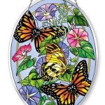 Amia-Beveled-Glass-Large-Oval-Suncatcher-Hand-Painted-Butterfly-Design-6-12-by-9-Inch-0