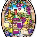 Amia-Oval-Suncatcher-with-Great-Vintages-Wine-Country-Design-Hand-Painted-Glass-6-12-Inch-by-9-Inch-0