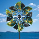 Bits-and-Pieces-Peacock-Feather-Wind-Spinner-14-Inch-Decorative-Kinetic-Wind-Mill-Unique-Outdoor-Windspinner-Lawn-and-Garden-Dcor-Lawn-Ornament-0-0