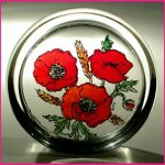Decorative-Hand-Painted-Stained-Glass-Paperweight-in-a-Meadow-Poppies-Design-0