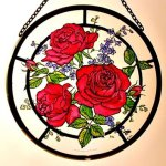 Decorative-Hand-Painted-Stained-Glass-Window-Sun-CatcherRoundel-in-a-Red-Roses-Design-0