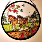 Decorative-Hand-Painted-Stained-Glass-Window-Sun-CatcherRoundel-in-an-Autumn-Ploughing-Fields-Country-Scene-Design-0